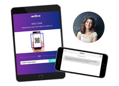 QR code and facial recognition check-in ipad kiosk and success SMS