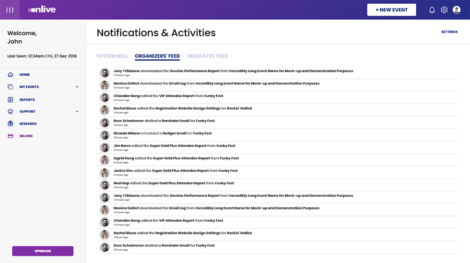 Activity feed of updates made by various collaborators in an event management software